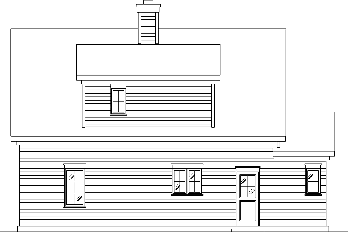 Cape Cod, Cottage, Traditional House Plan 45180 with 1 Beds, 2 Baths, 1 Car Garage Rear Elevation
