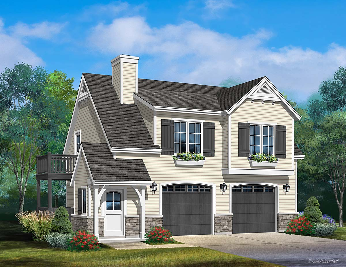 Farmhouse, Traditional 2 Car Garage Apartment Plan 45183 with 1 Beds, 1 Baths Elevation