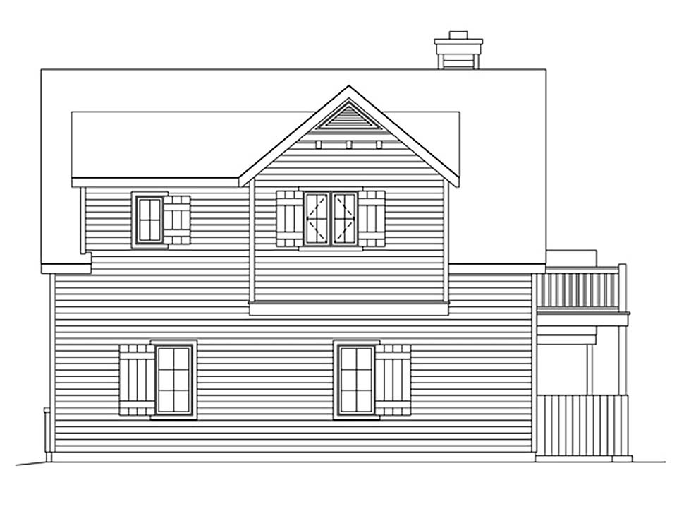Farmhouse, Traditional 2 Car Garage Apartment Plan 45183 with 1 Beds, 1 Baths Rear Elevation