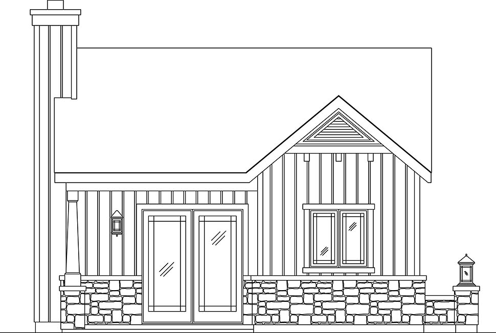 Bungalow, Cottage, Narrow Lot, One-Story House Plan 45186 with 1 Beds, 1 Baths Picture 3