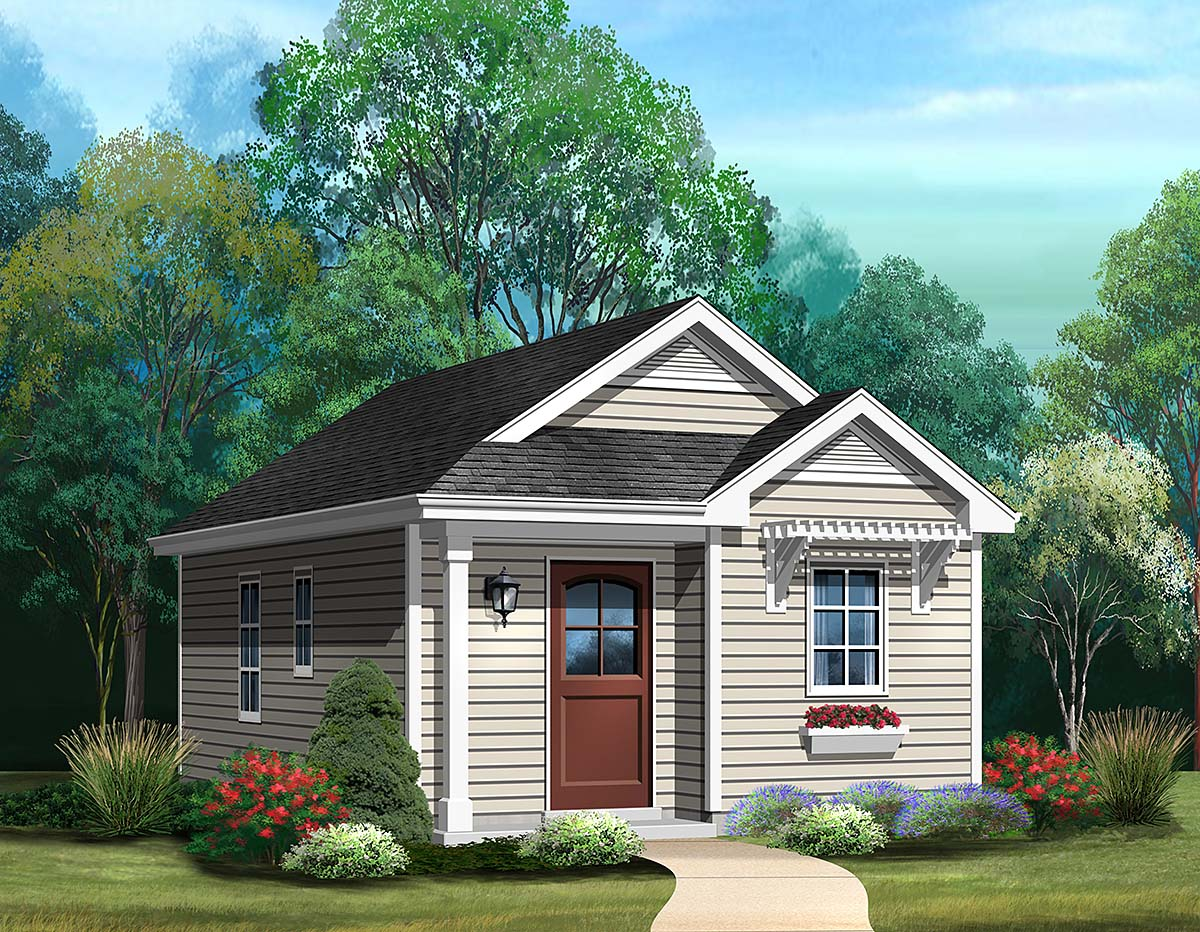Cottage, Narrow Lot, One-Story House Plan 45187 with 1 Beds, 1 Baths Elevation