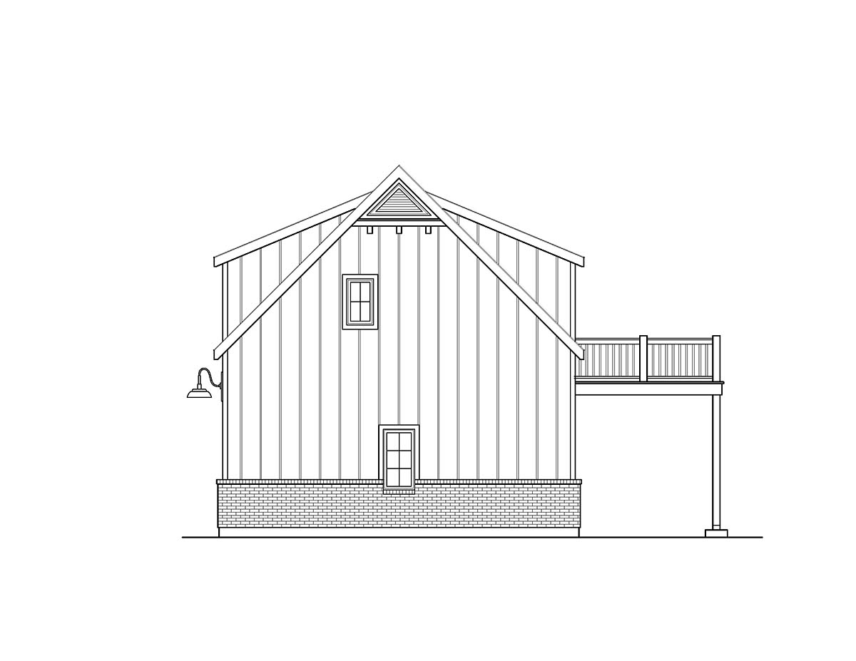 Country, Craftsman, Traditional 2 Car Garage Plan 45193 with 1 Beds, 1 Baths Picture 1