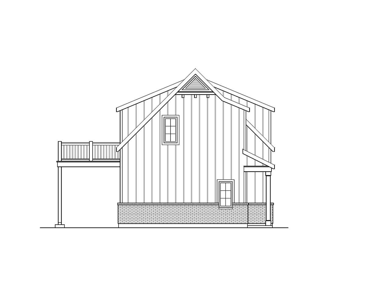 Country, Craftsman, Traditional 2 Car Garage Plan 45193 with 1 Beds, 1 Baths Picture 2