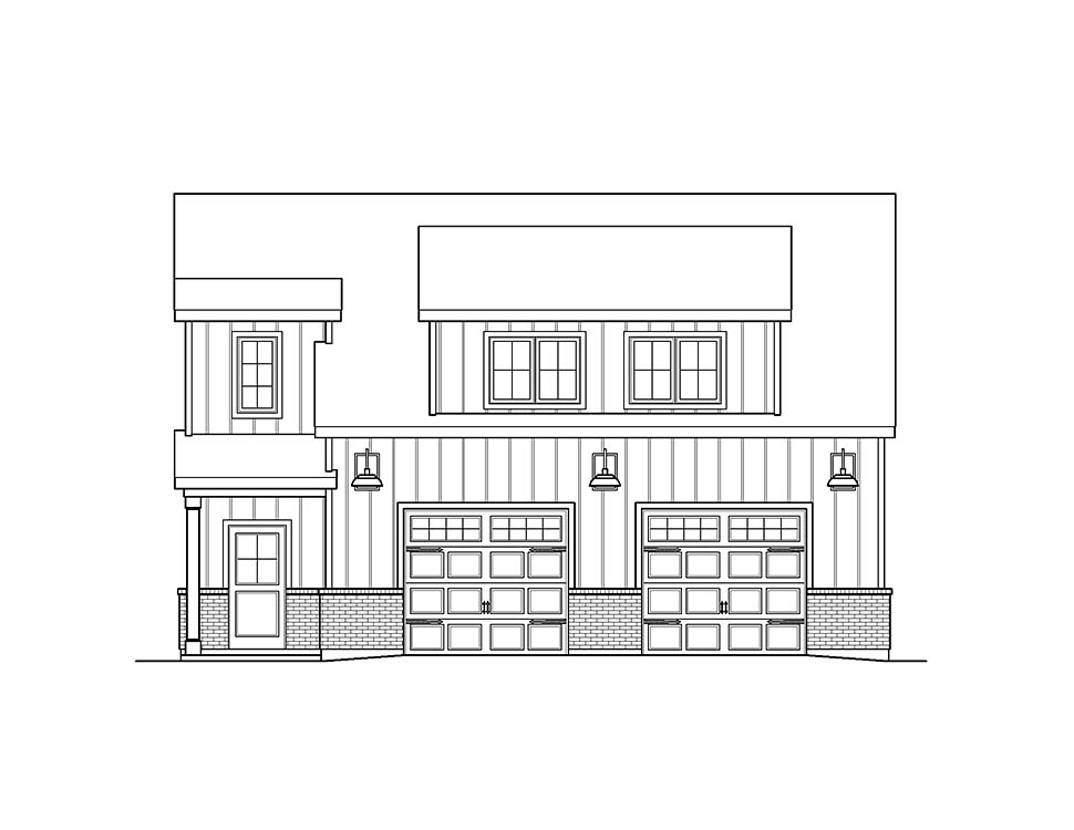 Country, Craftsman, Traditional 2 Car Garage Plan 45193 with 1 Beds, 1 Baths Picture 3