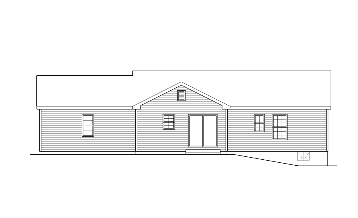 Ranch, Traditional House Plan 45194 with 3 Beds, 2 Baths, 2 Car Garage Rear Elevation