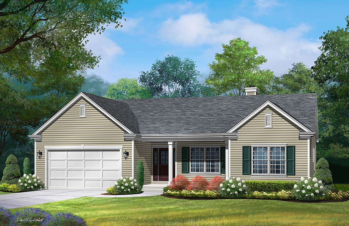Ranch, Traditional House Plan 45198 with 3 Beds, 3 Baths, 2 Car Garage Elevation