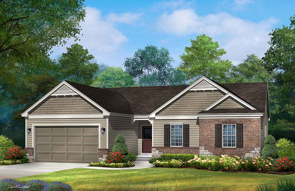 Ranch, Traditional House Plan 45199 with 3 Beds, 3 Baths, 2 Car Garage Elevation