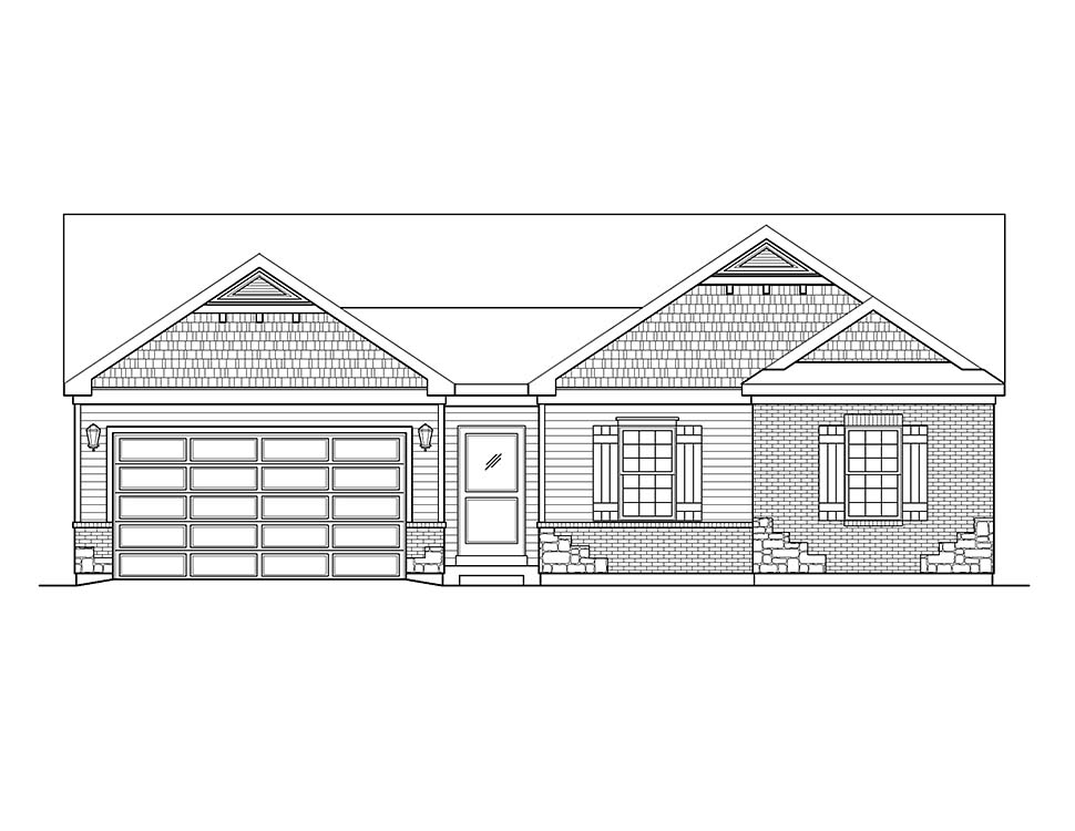Ranch, Traditional House Plan 45199 with 3 Beds, 3 Baths, 2 Car Garage Picture 3