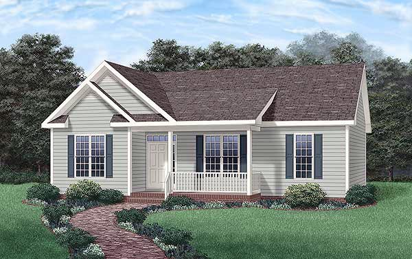 Country, Ranch House Plan 45234 with 3 Beds, 2 Baths Elevation