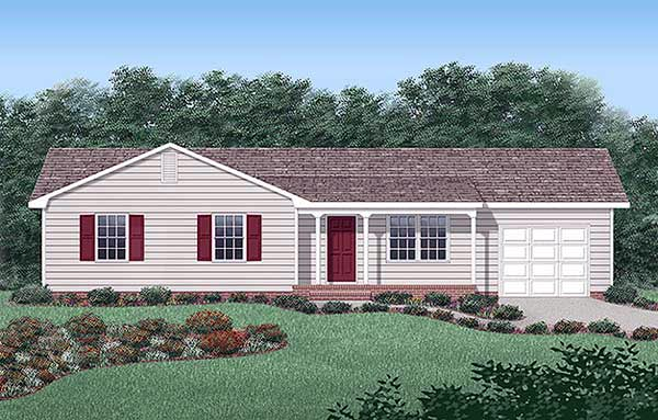 Ranch House Plan 45265 with 3 Beds, 2 Baths, 1 Car Garage Elevation