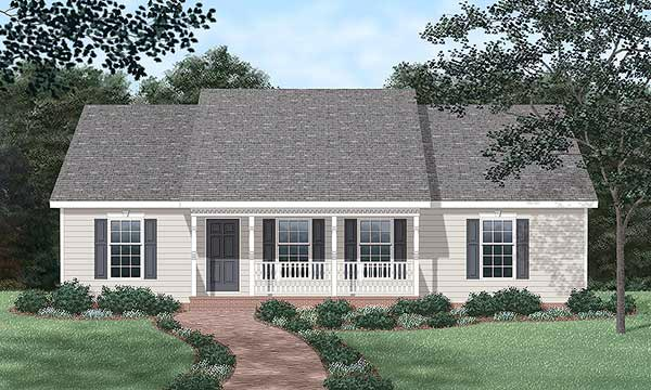 Ranch House Plan 45272 with 3 Beds, 3 Baths Front Elevation