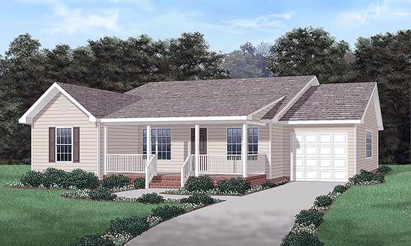 One-Story, Ranch House Plan 45297 with 3 Beds, 2 Baths, 1 Car Garage Elevation