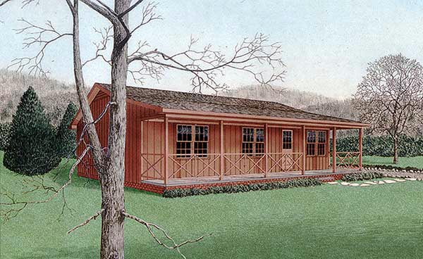 Cabin, Country House Plan 45310 with 3 Beds, 2 Baths Elevation