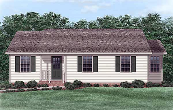 One-Story, Ranch House Plan 45321 with 3 Beds, 2 Baths Elevation