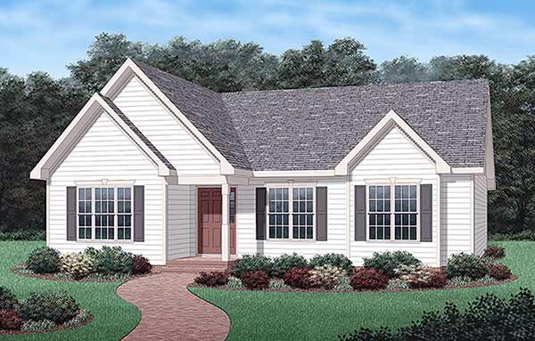 Ranch, Traditional House Plan 45342 with 3 Beds, 2 Baths Elevation