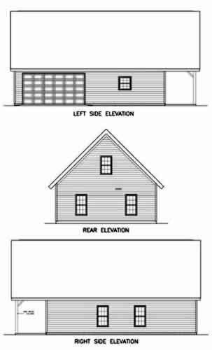 2 Car Garage Apartment Plan 45349 with 1 Beds, 1 Baths Rear Elevation