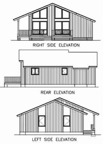 Contemporary, Narrow Lot, One-Story House Plan 45395 with 2 Beds, 2 Baths Rear Elevation