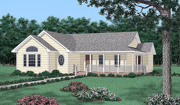 Ranch House Plan 45404 with 3 Beds, 2 Baths Elevation