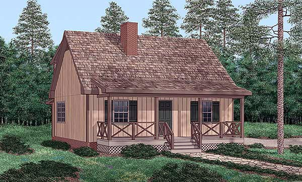 Narrow Lot, One-Story House Plan 45411 with 4 Beds, 2 Baths Elevation