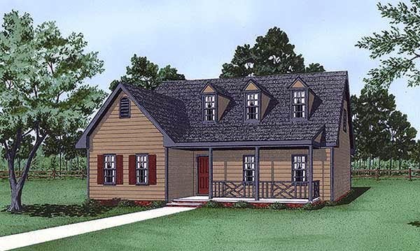 Cape Cod, Narrow Lot House Plan 45426 with 3 Beds, 3 Baths Elevation
