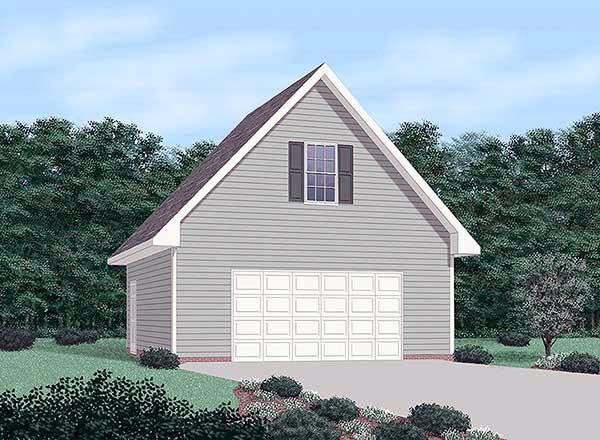 Colonial, Ranch 2 Car Garage Plan 45442 Elevation