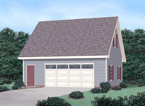 2 Car Garage Plan 45444 Front Elevation