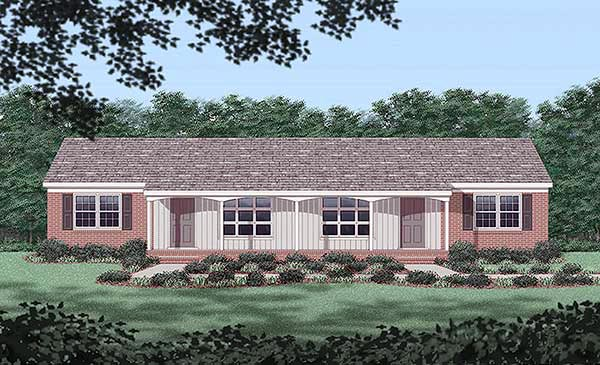 Multi-Family Plan 45445 with 4 Beds, 2 Baths Elevation