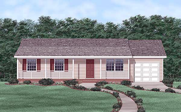 One-Story, Ranch House Plan 45454 with 3 Beds, 2 Baths, 1 Car Garage Front Elevation