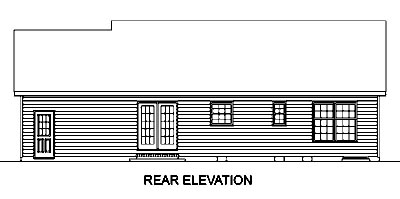 Country House Plan 45455 with 3 Beds, 2 Baths, 1 Car Garage Rear Elevation