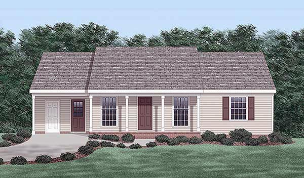 Ranch House Plan 45494 with 3 Beds, 2 Baths, 1 Car Garage Elevation