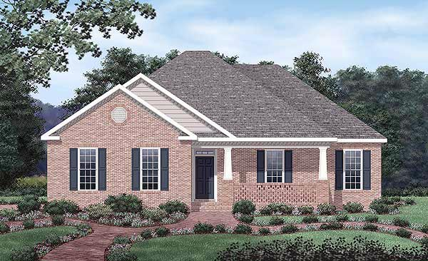 European, One-Story House Plan 45505 with 3 Beds, 2 Baths, 2 Car Garage Front Elevation