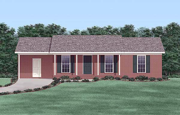 One-Story, Ranch House Plan 45507 with 3 Beds, 2 Baths, 1 Car Garage Front Elevation