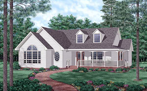 Country, One-Story House Plan 45509 with 3 Beds, 2 Baths Front Elevation