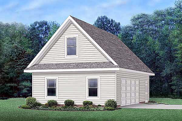 Traditional 2 Car Garage Apartment Plan 45512 with 1 Beds, 1 Baths Front Elevation