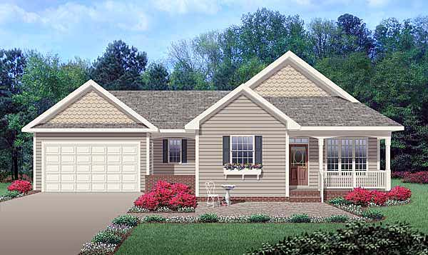 Ranch, Traditional House Plan 45514 with 3 Beds, 3 Baths, 2 Car Garage Front Elevation