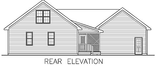 Ranch, Traditional House Plan 45514 with 3 Beds, 3 Baths, 2 Car Garage Rear Elevation