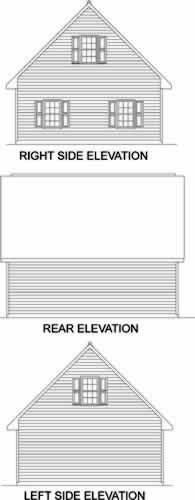 2 Car Garage Plan 45522 Rear Elevation