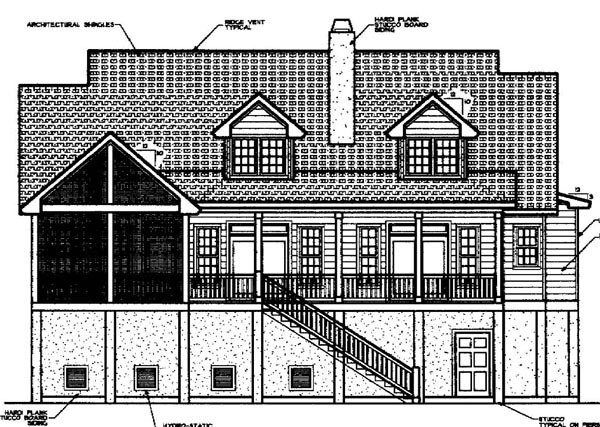 Coastal, Country House Plan 45657 with 3 Beds, 3 Baths Rear Elevation
