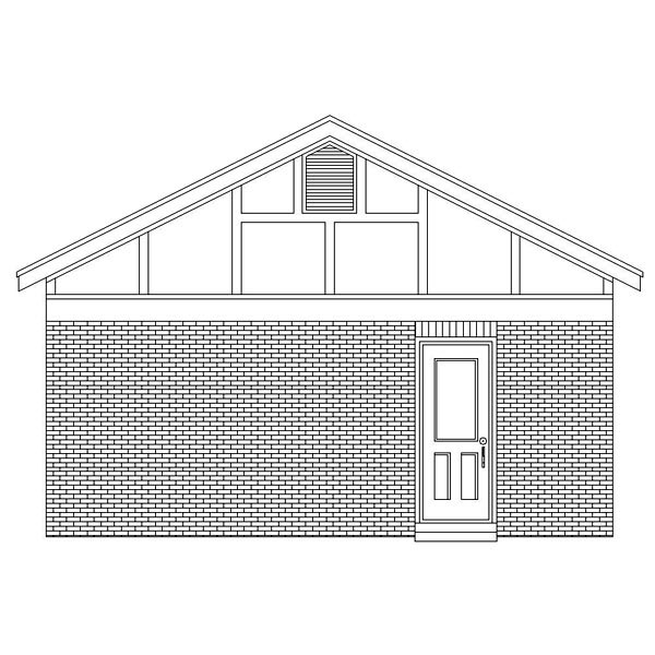European, Traditional 2 Car Garage Plan 45775 Rear Elevation