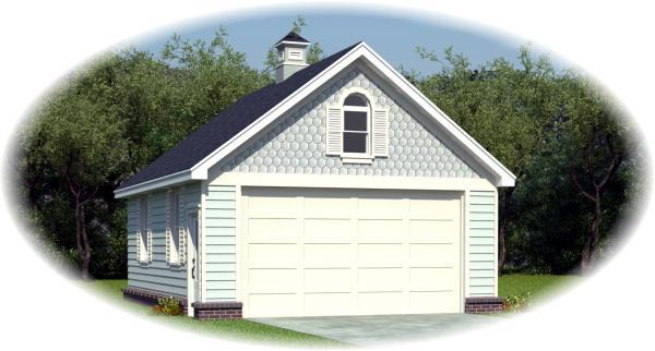 Country, Victorian 2 Car Garage Plan 45791 Front Elevation