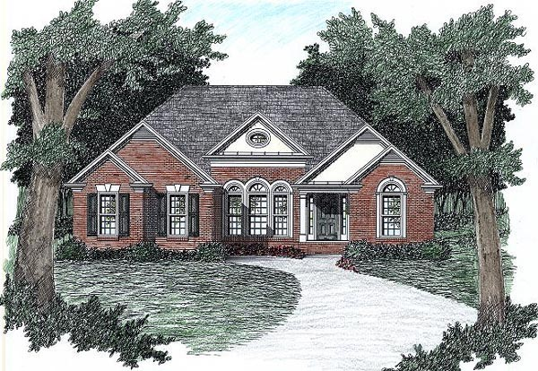 European, Traditional House Plan 45808 with 3 Beds, 2 Baths, 2 Car Garage Elevation
