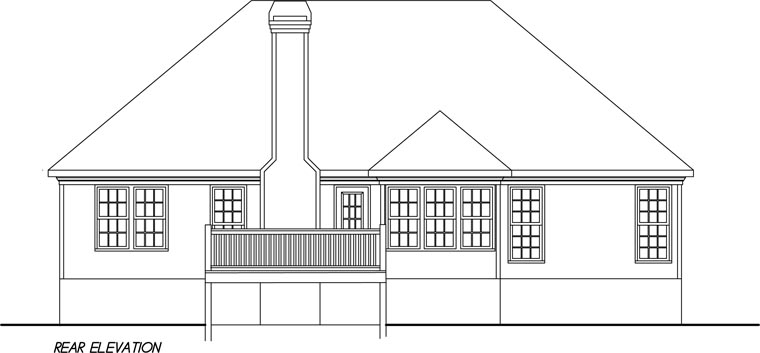 European, Traditional House Plan 45808 with 3 Beds, 2 Baths, 2 Car Garage Rear Elevation