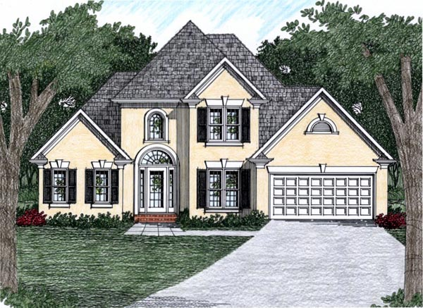 European House Plan 45810 with 3 Beds, 2.5 Baths, 2 Car Garage Elevation