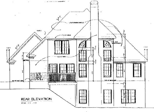European House Plan 45810 with 3 Beds, 2.5 Baths, 2 Car Garage Rear Elevation