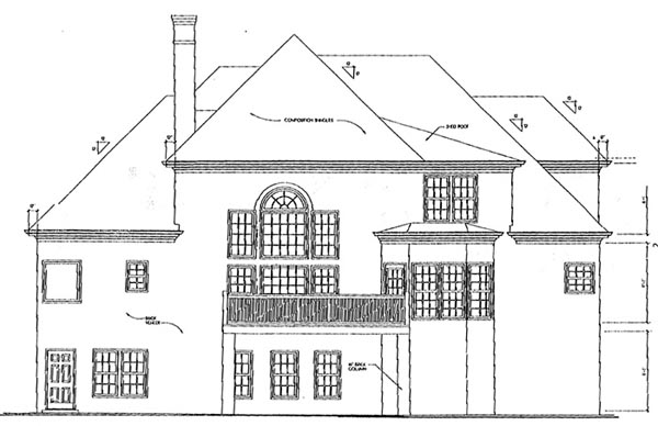 European House Plan 45844 with 4 Beds, 3.5 Baths, 2 Car Garage Rear Elevation