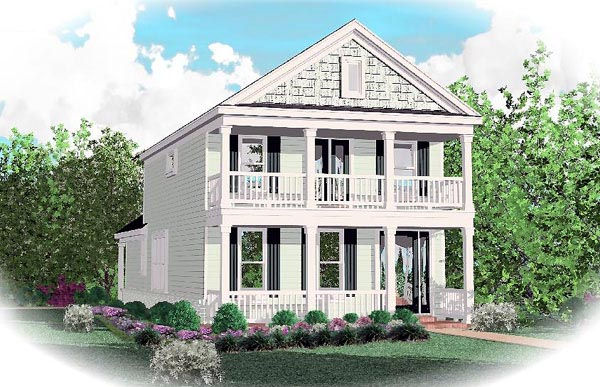 Colonial, Narrow Lot House Plan 46368 with 3 Beds, 3 Baths, 2 Car Garage Elevation