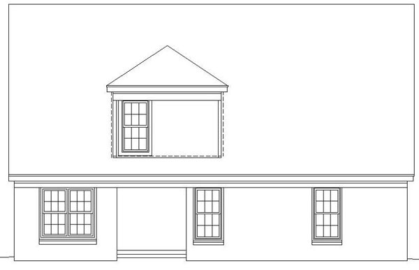 Traditional House Plan 46371 with 3 Beds, 3 Baths, 2 Car Garage Rear Elevation