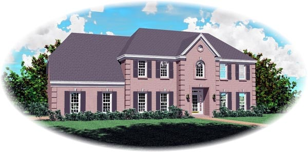 House Plan 46753 with 4 Beds, 4 Baths, 2 Car Garage Elevation