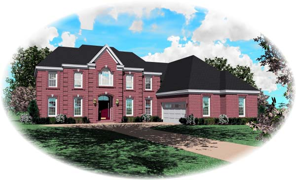 Colonial House Plan 46772 with 4 Beds, 4 Baths, 2 Car Garage Elevation