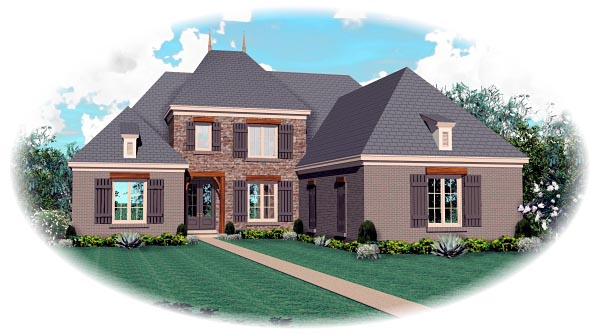 Traditional House Plan 46867 with 5 Beds, 5 Baths, 3 Car Garage Elevation